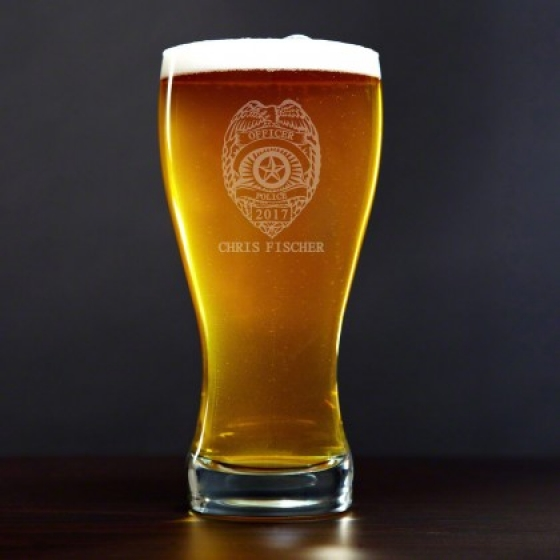 police badge personalized pilsner glass police gifts and gags